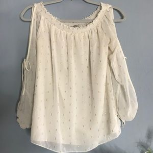 GUESS xxs Ivory Gold Dot Embroidered Blouse Top